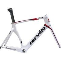 Cervelo S5 Carbon Frame & Fork - White/ Red