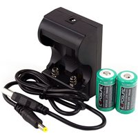 EXPOSURE USB Recharger With RCR123A Li-Ion Rechargeable Batteries