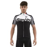 Zest Full Zip Short Sleeve Cycling Jersey - Black by Santini