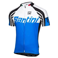 Santini Zest Full Zip Short Sleeve Cycling Jersey - Blue