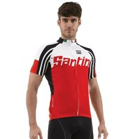 Santini Zest Full Zip Short Sleeve Cycling Jersey - Red