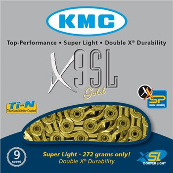 KMC X9SL 9 Speed Titanium Nitride Plated Chain  - Click to view a larger image