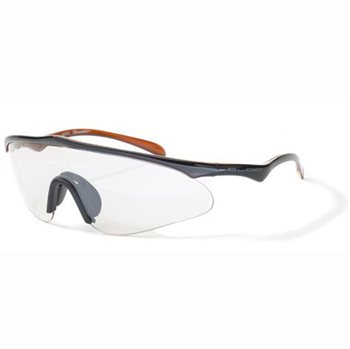 Bloc Stealth W041 Sunglasses - Shiny Black/Orange Frame with Clear Lens