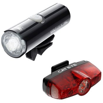Cateye Volt 200 Front And Rapid Mini Rear Light Set  - Click to view a larger image