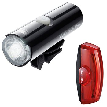 Cateye Volt 500 XC Front And Rapid X2 Rear Light Set  - Click to view a larger image