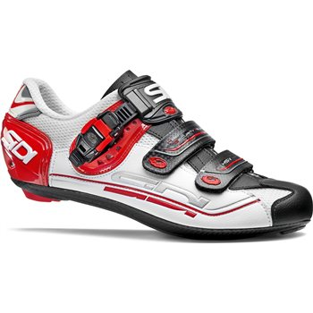 Sidi Genius 7 Fit Carbon Road Cycling Shoes - White / Black / Red  - Click to view a larger image