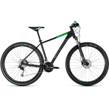 Cube Aim SL Hardtail Black & Flash Green - 2018  - Click to view a larger image