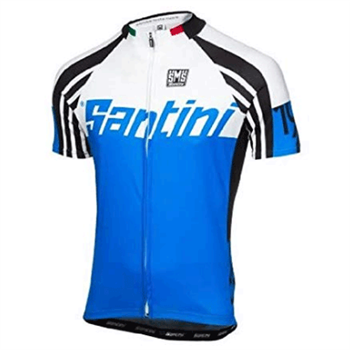Santini Zest Full Zip Short Sleeve Cycling Jersey - Blue  - Click to view a larger image
