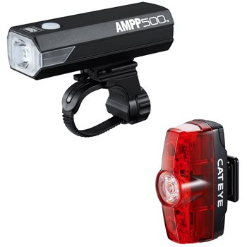 Cateye Ampp 500 & Rapid Mini USB Rechargeable Light Set  - Click to view a larger image
