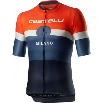 Castelli Milano Short Sleeve Jersey - Orange / White / Steel Blue  - Click to view a larger image