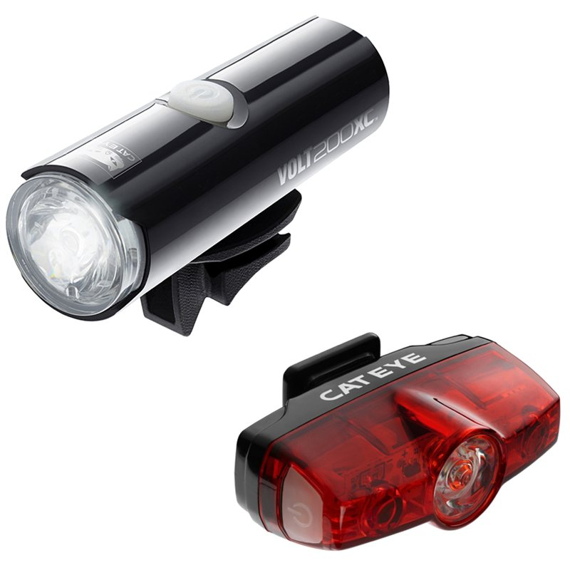 Cateye Volt 200 Front And Rapid Mini Rear Light Set 1